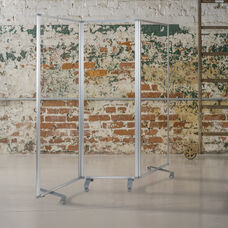 Transparent Acrylic Mobile Partition with Lockable Casters (3 Sections Included)