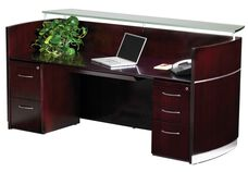 Napoli Reception Station with One Box Box File Pedestal and One File File Pedestal - Mahogany on Walnut Veneer