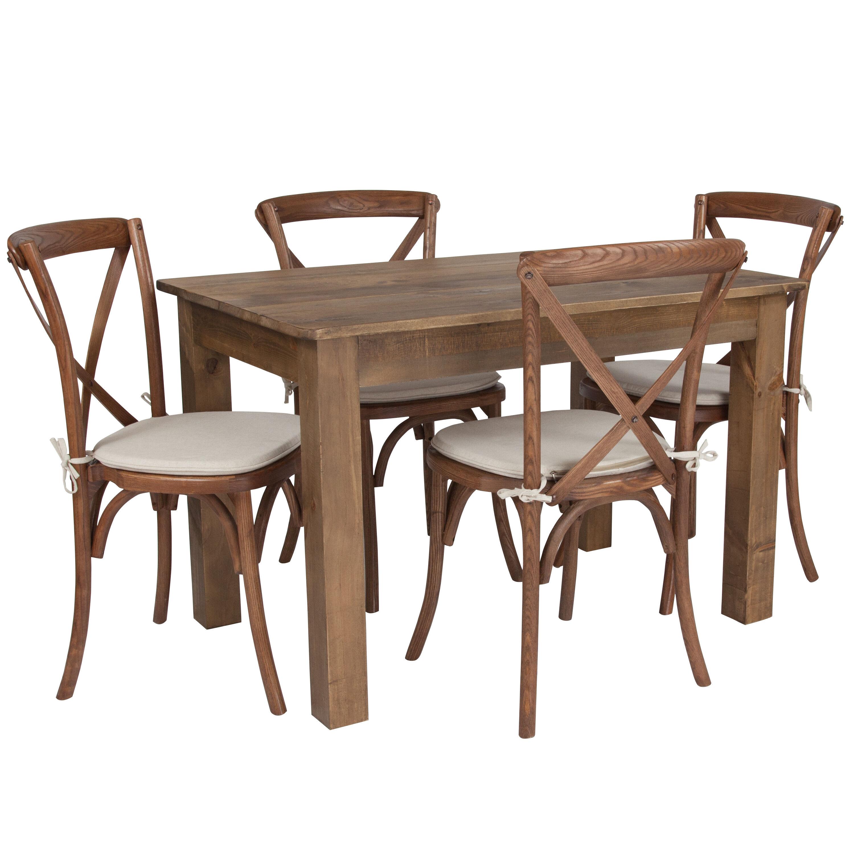46x30 Farm Table 4 Chair Set XA FARM 17 GG