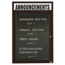 1 Door Indoor Enclosed Directory Board with Header and Black Anodized Aluminum Frame - 24