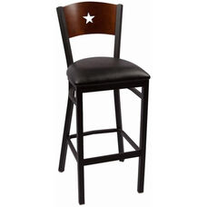 Liberty Series Wood Back Armless Barstool with Steel Frame and Vinyl Seat - Walnut