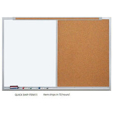 Quick Ship LCS Deluxe Combination Markerboard and Tackboard with Marker Tray and Map Rail - 72
