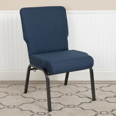 Advantage 20.5 in. Navy Molded Foam Church Chair with Book Rack