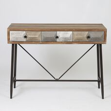 Deco Console Table with 3 Drawers and Metal Legs