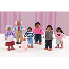 Wooden Doll Family with Seven Family Members - African American