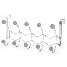 Five Hook Over The Door in Chrome with Wave Wire and Porcelain Ball - Lavender