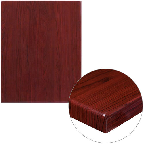 """Our 24"""" x 30"""" Rectangular High-Gloss Mahogany Resin Table Top with 2"""" Thick Edge is on sale now."""