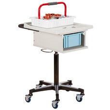 Laminate Phlebotomy Cart with One Removable Storage Bin - Gray
