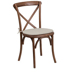 HERCULES Series Stackable Pecan Wood Cross Back Chair with Cushion
