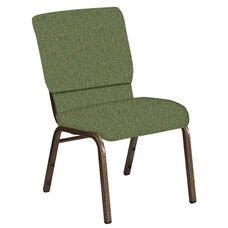 Embroidered 18.5''W Church Chair in Martini Olive Fabric - Gold Vein Frame