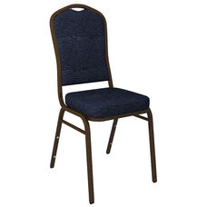 Embroidered Crown Back Banquet Chair in Culp Fandango Admiral Fabric - Gold Vein Frame