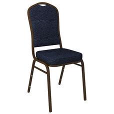 Crown Back Banquet Chair in Culp Fandango Admiral Fabric - Gold Vein Frame
