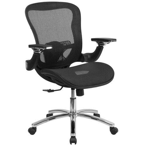 Our Mid-Back Transparent Black Mesh Executive Swivel Ergonomic Office Chair with Synchro-Tilt & Height Adjustable Flip-Up Arms is on sale now.