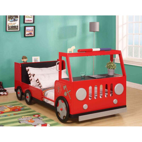 Fifer Complete Twin Bed with Desk Shelf - Fire Truck - Red and Silver