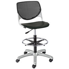 DS2300 KOOL Series Poly Armless Task Stool with Perforated Back and Silver Frame - Black