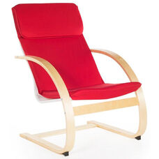 Teachers Rocker with Removable Cushion and Steam-Bent Plywood Construction - Red - 26