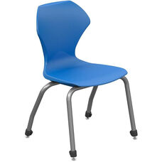 Apex Series Plastic Stack Chair with 12''H Seat - Blue Seat and Gray Frame