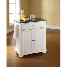 Solid Black Granite Top Portable Kitchen Island with Alexandria Feet - White Finish
