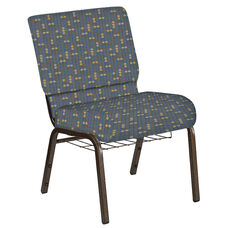 Embroidered 21''W Church Chair in Eclipse Sky Fabric with Book Rack - Gold Vein Frame