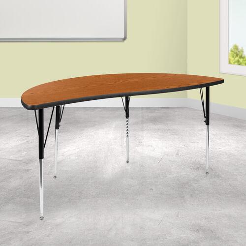 "60"" Half Circle Wave Collaborative Oak Thermal Laminate Activity Table - Standard Height Adjustable Legs"