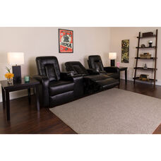 Eclipse Series 3-Seat Reclining Black LeatherSoft Theater Seating Unit with Cup Holders