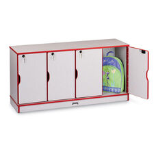 Rainbow Accents Stacking Lockable Lockers - 4 Sections - Single-Sided Stack