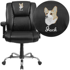 Embroidered HERCULES Series Big & Tall 400 lb. Rated Black LeatherSoft Ergonomic Task Office Chair, Chrome Base & Arms