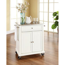 Stainless Steel Top Portable Kitchen Island with Casters - White Finish