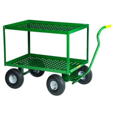 2-Shelf Wagon Truck With Perforated Deck and Pneumatic Wheels - 48