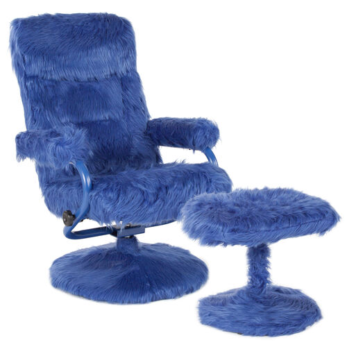 Our East Side Contemporary Multi-Position Recliner and Ottoman in Navy Fur is on sale now.