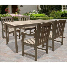 Renaissance Outdoor 5 Piece Hand-Scraped Wood Dining Set with Straight Leg Table and 4 Arched Slat Back Armchairs