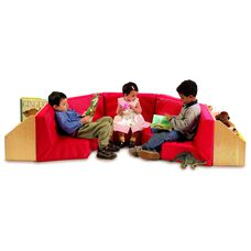 Kids 5 Section Reading Nook with Book Storage Shelving and Red Vinyl Seating