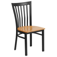 Black School House Back Metal Restaurant Chair with Natural Wood Seat