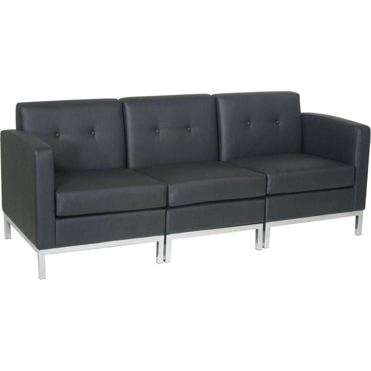 Our Ave Six Wall Street Faux Leather Modular Sofa With Chrome Finish Base Black Is