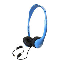 Blue On-Ear Leatherette Ear Cushion Personal Sack-O-Phones Microphone Headsets with Plastic Head Band and Carry Bag - Set of 10 Headphones