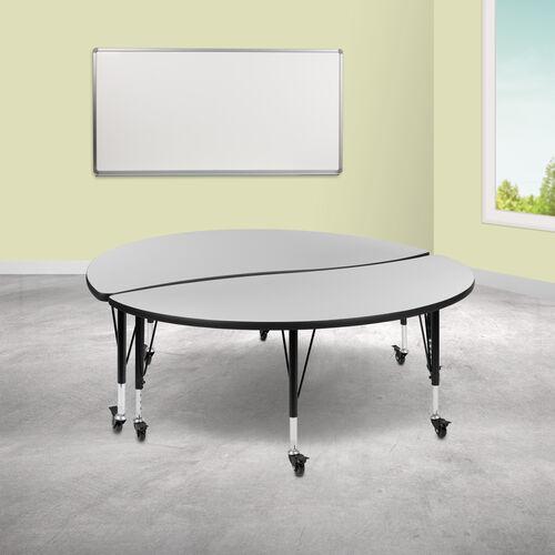 "2 Piece Mobile 60"" Circle Wave Collaborative Grey Thermal Laminate Kids Adjustable Activity Table Set"