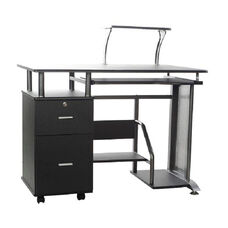 Rothmin Computer Desk with Storage Cabinet - Black and Gray