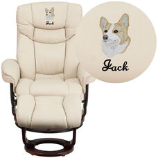 Embroidered Contemporary Beige Leather Recliner and Curved Ottoman with Swiveling Mahogany Wood Base