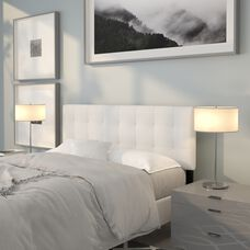Bedford Tufted Upholstered Queen Size Headboard in White Fabric