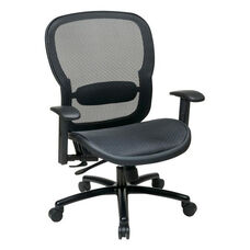 Space Big & Tall Breathable Mesh Chair with 400 lb Weight Capacity and Adjustable Arms - Black