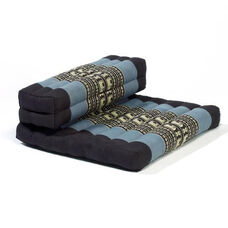 Dhyana Meditation Cushion with Built in Bolster - Blue and Black