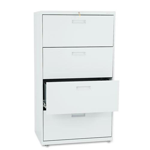 Our HON® 500 Series Four-Drawer Lateral File - 30w x 19-1/4d x 53-1/4h - Light Gray is on sale now.