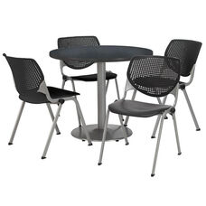 36'' Round Graphite Nebula Laminate Table Set with Black Finish Poly Stack Chairs - Seats 4