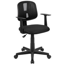 Basics Mid-Back Mesh Swivel Task Office Chair with Pivot Back and Arms, Black, BIFMA Certified