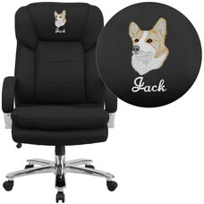Embroidered HERCULES Series 24/7 Intensive Use Big & Tall 500 lb. Rated Black Fabric Ergonomic Office Chair - Loop Arms