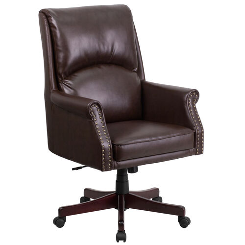 Our High Back Pillow Back Brown LeatherSoft Executive Swivel Office Chair with Arms is on sale now.