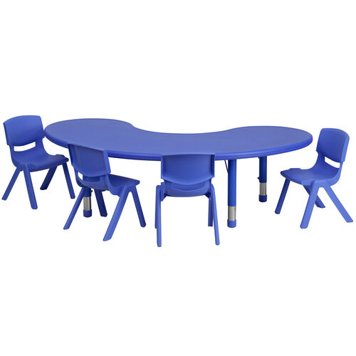 "Our 35""W x 65""L Half-Moon Plastic Height Adjustable Activity Table Set with 4 Chairs is on sale now."