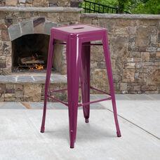 "Commercial Grade 30"" High Backless Purple Indoor-Outdoor Barstool"