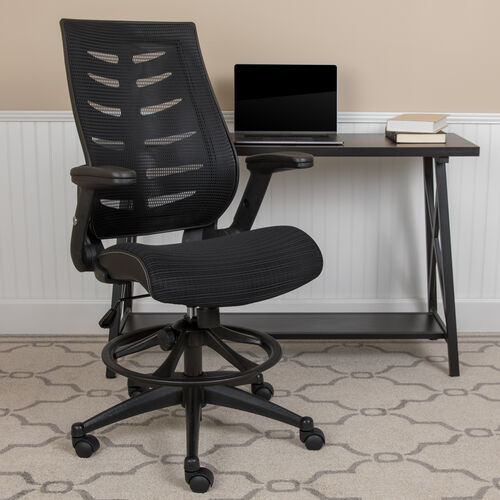High Back Black Mesh Spine-Back Ergonomic Drafting Chair with Adjustable Foot Ring and Adjustable Flip-Up Arms