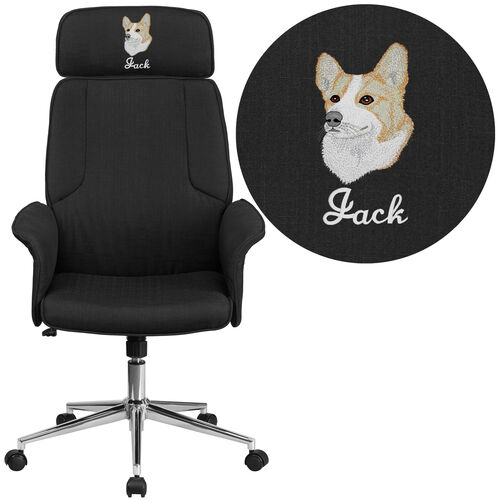 Embroidered High Back Fabric Executive Swivel Office Chair with Chrome Base and Fully Upholstered Arms